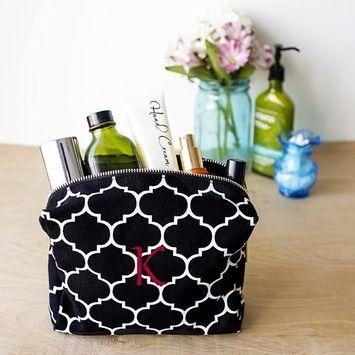 Personalized Black Moroccan Lattice Cosmetic Bag