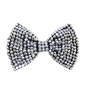 MeeTHan Sequin Bow Brooch Pins Hair Clip Hat Decorations Dress Pins:SP4 (Silver)