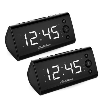 Electrohome Alarm Clock Radio with USB Charging for Smartphones & Tablets - 2 PACK