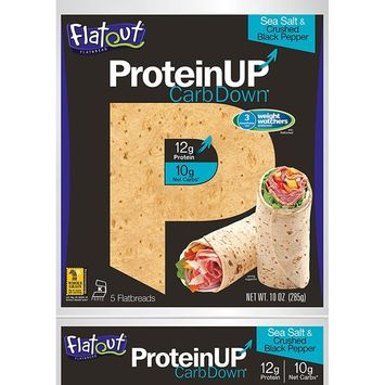 Flatout ProteinUP Flatbread, Low Carb Wraps, 5 Wraps (Sea Salt and Crush Black Pepper)