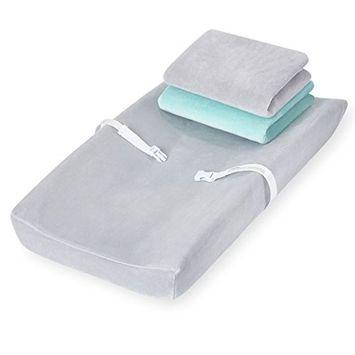Koala Baby Plush Changing Pad Cover - 3 Pack (Grey and Aqua)