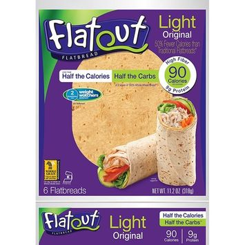 FLATOUT Flatbread - ORIGINAL - 90 Calories - 2 Weight Watchers SmartPoints value per flatbread