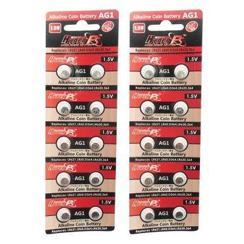 HyperPS (20 pcs) AG1 Alkaline 1.5V Button Cell Battery Single Use V364 GP364 LR621W TR621 Watch Toys Remotes Cameras
