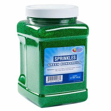 Sprinkles – Nonpareils Bulk – Green Nonpareils in Resealable Container – Bulk Sprinkles – 2.7LB