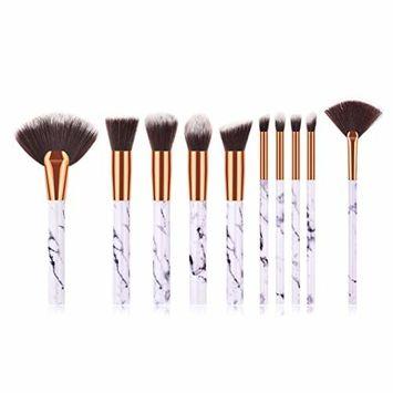 Start_wuvi Makeup Brushes 10PCS Marble pattern Makeup Brush Set Premium Synthetic Foundation Fan Brush Blending Face Powder Blush Concealers Eye Shadows Make Up Brushes Kit