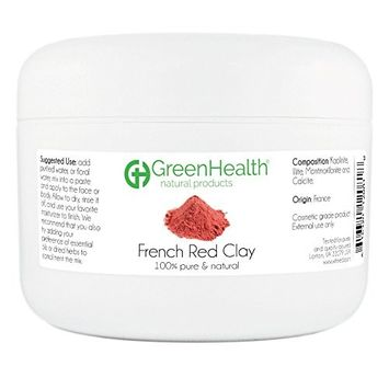 French Red Clay Powder - 100% Pure & Natural by GreenHealth