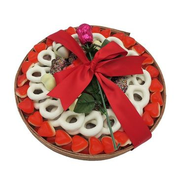 The Nuttery Red and White Chocolate Sweets Special For Valentines Day Displayed in a Round Wooden Gift Tray