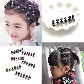 CuteU 12 Pcs Mini Rhinestone Flowers Metal Hair Claw, Hair Clips for Baby/Girl/Women (10#White)