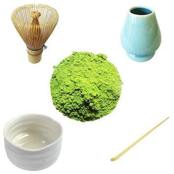 Organic Ceremonial Japanese Matcha Starter Kit | 30g Ceremonial Matcha, Matcha Whisk, Whisk Holder, Bamboo Scoop, Bowl