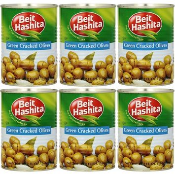 Beit Hashita Green Cracked Olives, 19.7oz Can (Pack of 6, Total of 118.2 Oz)