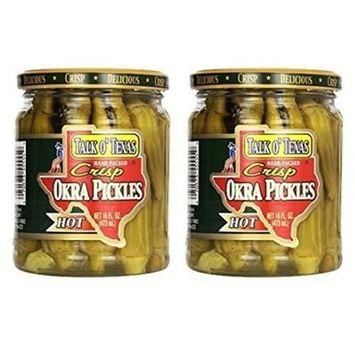 Talk O Texas Okra Pickles, Hot, 16 oz