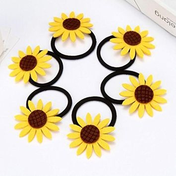 Polytree 5Pcs Sunflower Ponytail Holders Elastic Hair Ties Bands Rope for Women Girls