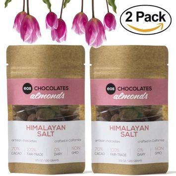 Premium Dark Chocolate Covered Almonds - Artisan Crafted, Swiss Made in California, Gluten and Dairy Free, Vegan, Fair Trade, Single Origin Columbian 70% Cacao (Himalayan Salt, 2 Pack)