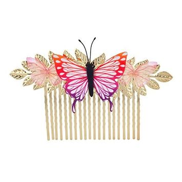 Lux Accessories Gold Tone Multicolor Butterfly Metal Side Hair Comb