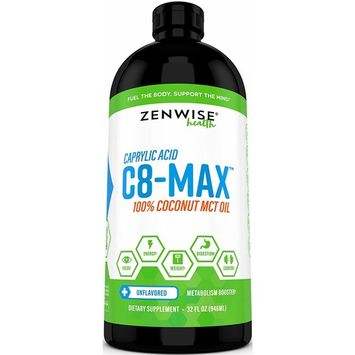 Pure C8 MCT Oil - Coconut C8-Max Caprylic Acid Supplement - Natural Keto Friendly Formula for Weight Loss & Metabolism + Clean Energy - Great for...