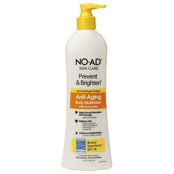 NO-AD Prevent & Brighten Anti-Aging Body Moisturizer SPF 15, Lotion 12 fl oz