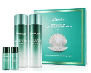 JMsolution - Marine Luminous Pearl Deep Moisture Skin Care Set: Toner (130ml + 20ml) + Emulsion (130ml + 20ml) 4 pcs