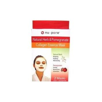 3 Packs of Nu-pore Natural Herb & Pomegranate Collagen Essence Mask 2 Per Box a Lot of 6 Total