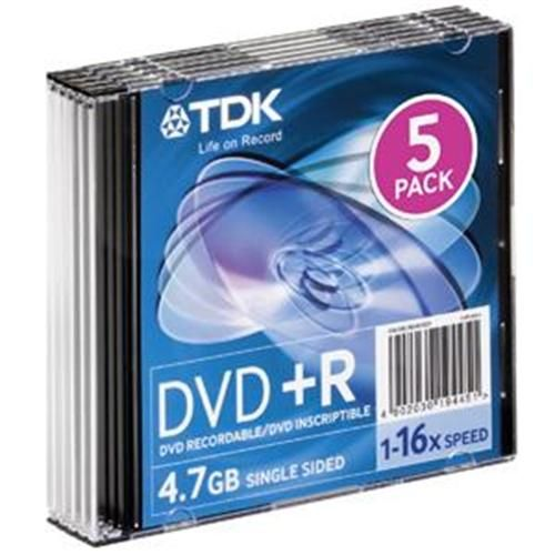 TDK Media TDK 16x 4.7GB DVD-R Media (5-pack Slim Jewel Cases) 48577