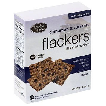 Doctor in the Kitchen Flackers Cinnamon & Currants Flax Seed Crackers, 5 oz, (Pack of 12)