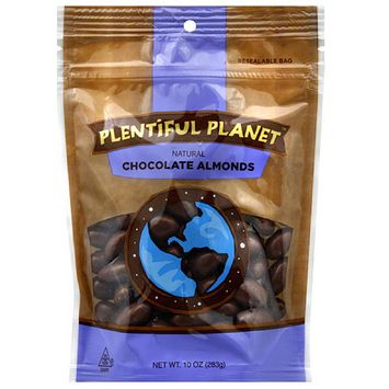 Plentiful Planet Natural Chocolate Almonds, 10 oz, (Pack of 6)
