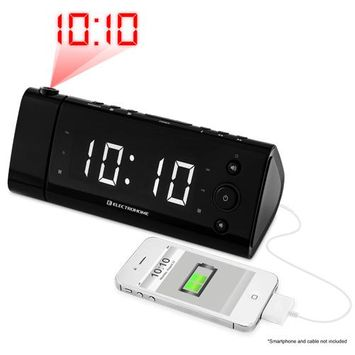 Electrohome USB Charging Alarm Clock Radio with Projection and White LEDs