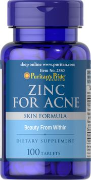 Puritan's Pride 2 Units of Zinc for Acne-100-Tablets