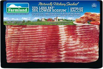 Farmland® Naturally Hickory Smoked 33% Less Fat* 35% Lower Sodium* Center Cut Bacon