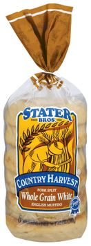 Stater Bros. Fork Split Whole Grain White English Muffins 6 Ct Bag