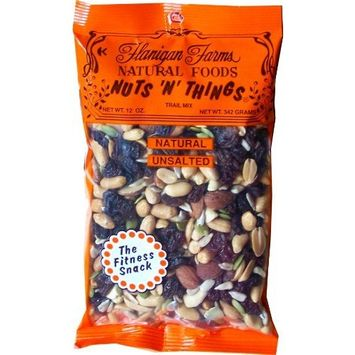 Flanigan Farms Natural Foods Nuts 'N' Things Trail Mix, Unsalted 12oz (6 Pack)
