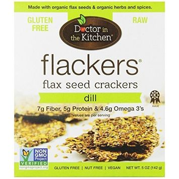 Doctor In The Kitchen Flaxseed Crackers, Dill, 5-Ounce