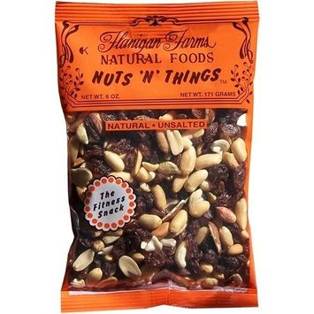 Flanigan Farms Natural Foods Nuts 'N' Things Trail Mix, Unsalted 6oz (6 Pack)