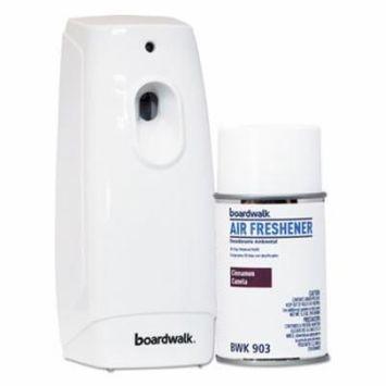 Boardwalk Air Freshener Dispenser Starter Kit, White, Cinnamon Sunset, 5.3 oz