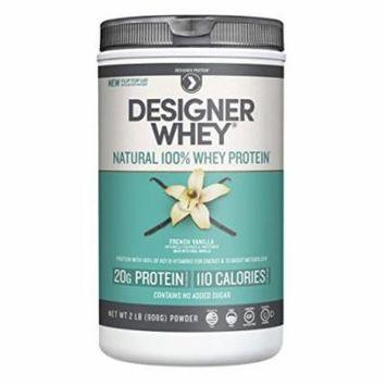 Designer Protein 100% Premium Natural Whey Protein Powder with Acti-Blend, French Vanilla, 2 Pound Canister