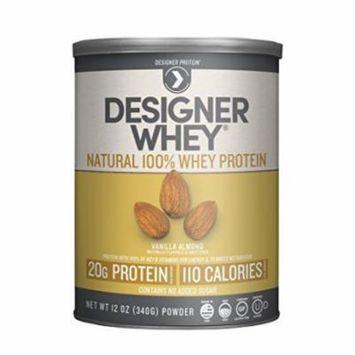 Designer Protein 100% Premium Natural Whey Protein Powder with Acti-Blend, Vanilla Almond, 12 Ounce