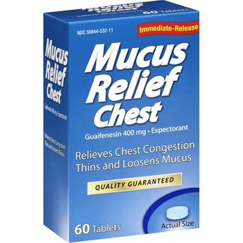 LNK International: Mucus Relief Chest Tablets Expectorant, 60 Ct