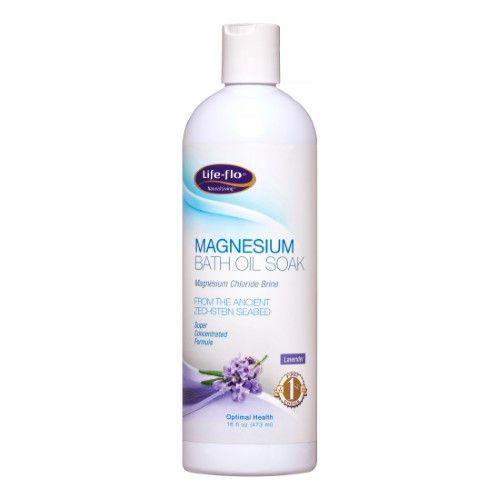 Magnesium Bath Oil Soak Lavender Life Flo Health Products 16 oz Liquid
