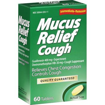 LNK International: Mucus Relief Cough Tablets Expectorant/Cough Suppressant, 60 Ct