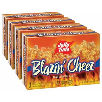 JOLLY TIME Blazin' Cheez | Spicy Cheddar Cheese Microwave Popcorn with Bold & Savory Flaming Hot Red Pepper & Chilli Flavor (3-Count Boxes, Pack of 4)