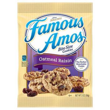 Famous Amos, Bite Size Cookies, Oatmeal Raisin, Bulk Size, 170 oz (Pack of 85, 2 oz Pouches)