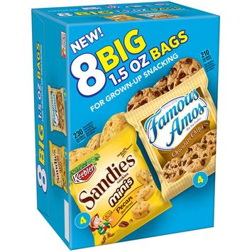 Keebler Sandies Pecan Shortbread Minis & Famous Amos Bite Size Chocolate Chip Cookies Variety Pack 8 Ct (Pack Of 4)