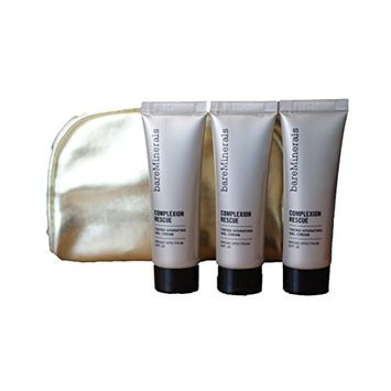 bareMinerals Complexion Rescue Tinted Hydrating Gel Cream - Vanilla 02 (20 ml/0.68 oz) Set of 3 & Make Up Bag