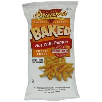 Michael Season's Baked Hot Chili Pepper Cheese Curls, 5.5 Ounce Bags (Pack of 12)