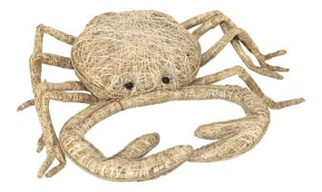 King-max Woven Fragrance Root Coastal Crab Figurine 12 Inch Tabletop Dcor