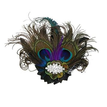 MagiDeal Vintage Retro Peacock Feather Fascinator Hair Clip Party Headwear Pattern 03