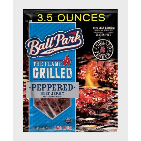 Ball Park Flame Grilled Beef Jerky, Peppered, 3.5, Oz