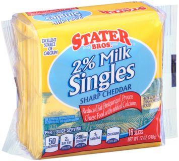 Stater bros® 2% Milk Sharp Cheddar Cheese Singles