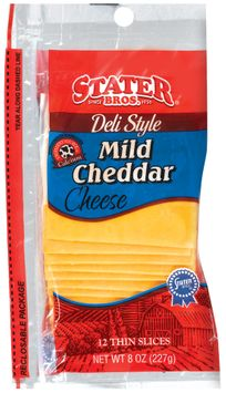 Stater bros Mild Cheddar Deli Style Thin Slices 12 Ct Cheese