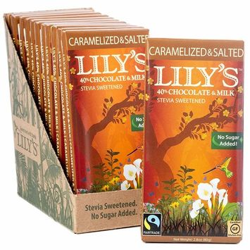 Caramelized & Salted Milk Chocolate Bar by Lily's Sweets | Stevia Sweetened, No Added Sugar, Low-Carb, Keto Friendly | 40% Cacao | Fair Trade, Gluten-Free & Non-GMO | 2.8 ounce, 12-Pack