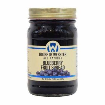House of Webster Blueberry - No Sugar Added - 100% Fruit Spread 16.5 oz
